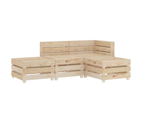 vidaXL 4 Piece Garden Lounge Set Pallets Wood