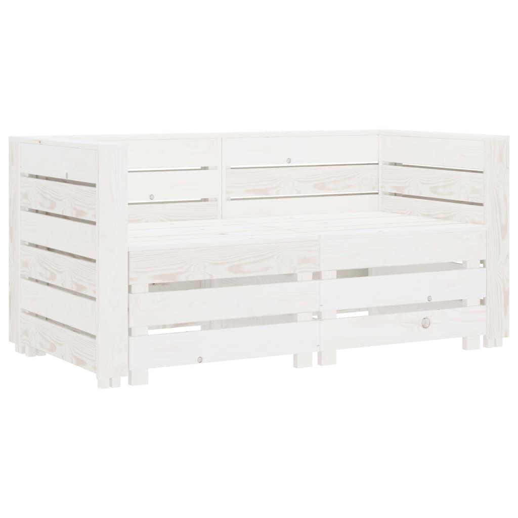 vidaXL Canapea din paleți de grădină cu 2 locuri, alb, lemn vidaxl.ro