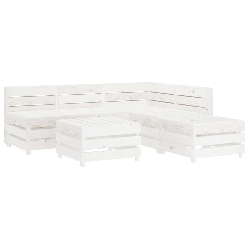 vidaXL Set mobilier de grădină paleți, alb, 6 piese, lemn