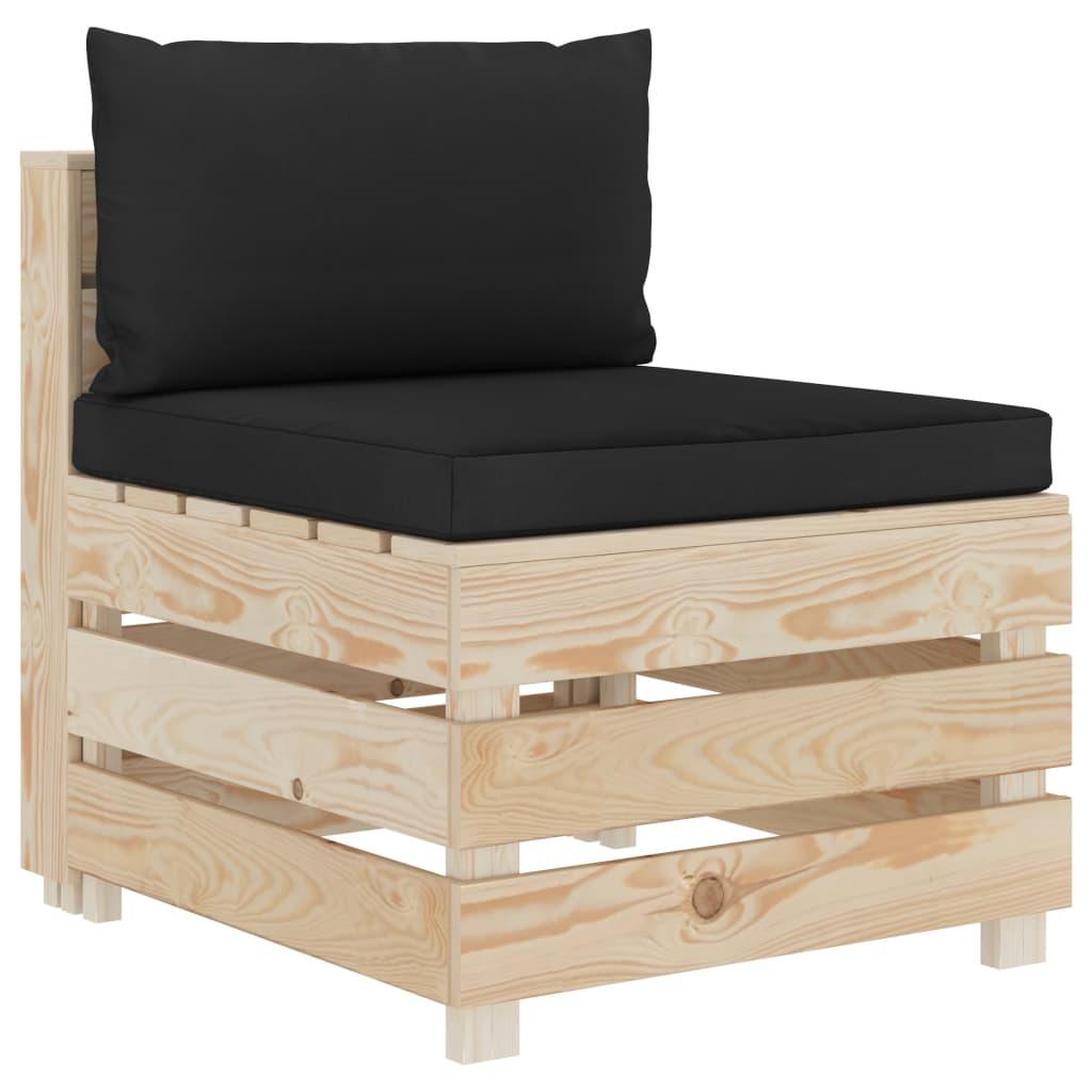 vidaXL Canapea de mijloc de grădină din paleți cu perne negre, lemn poza vidaxl.ro