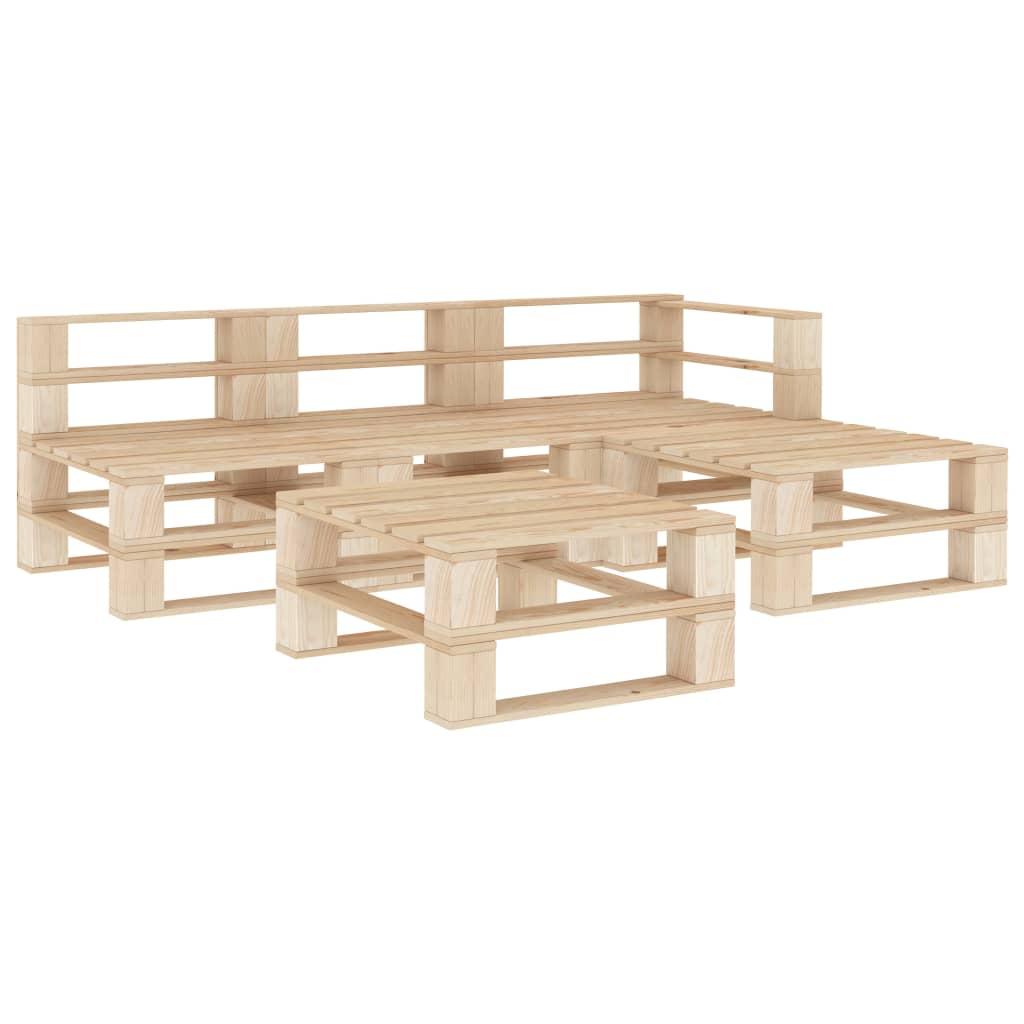 vidaXL Set mobilier de grădină din paleți, 5 piese, lemn vidaxl.ro
