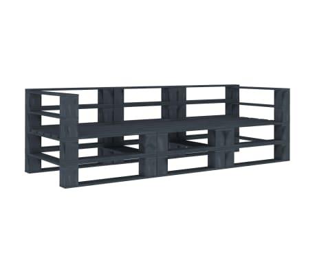 vidaXL Garden Pallet Sofa Grey 3-Seater Wood