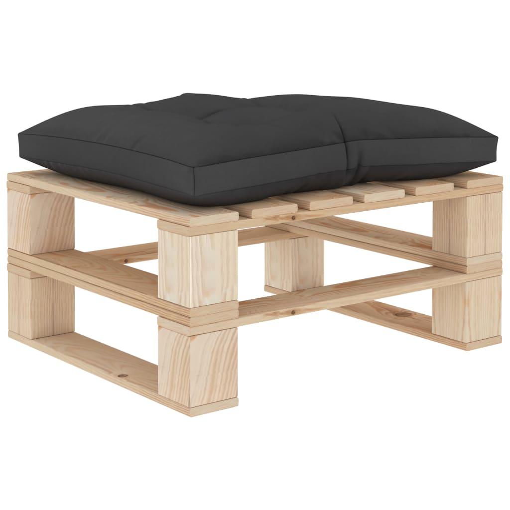 vidaXL Zahradní taburet z palet s černou poduškou dřevo