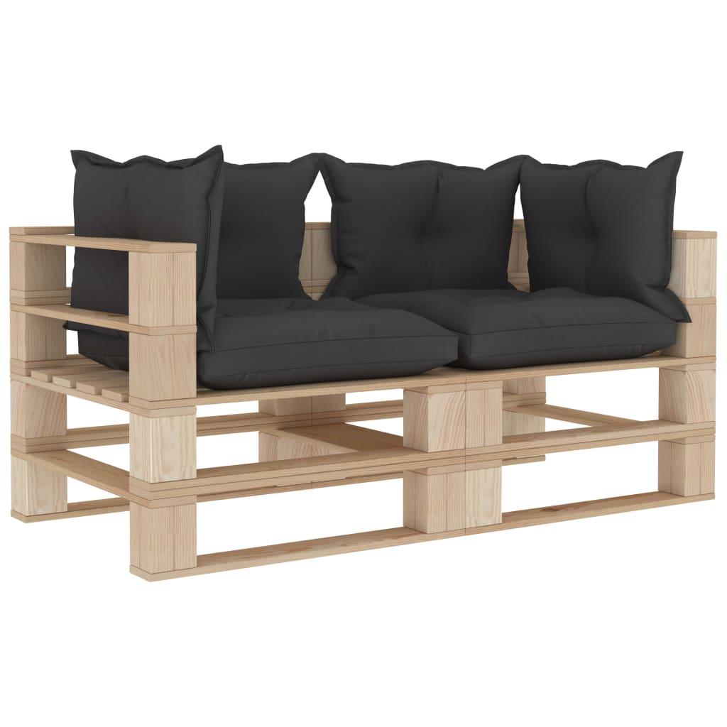 Canapé de jardin 2 places Noir Design Confort