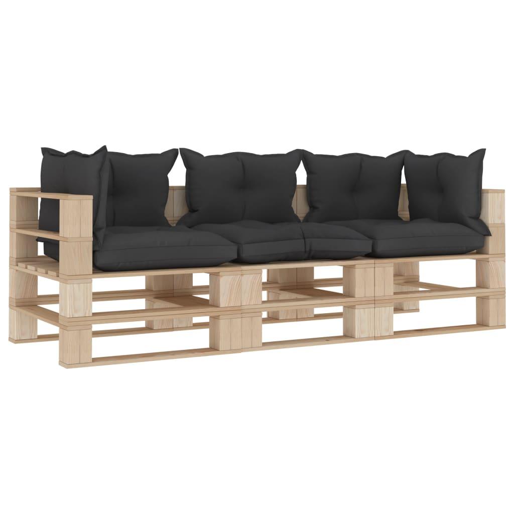 vidaXL Canapea de grădină din paleți, 3 locuri, perne negre, lemn vidaxl.ro