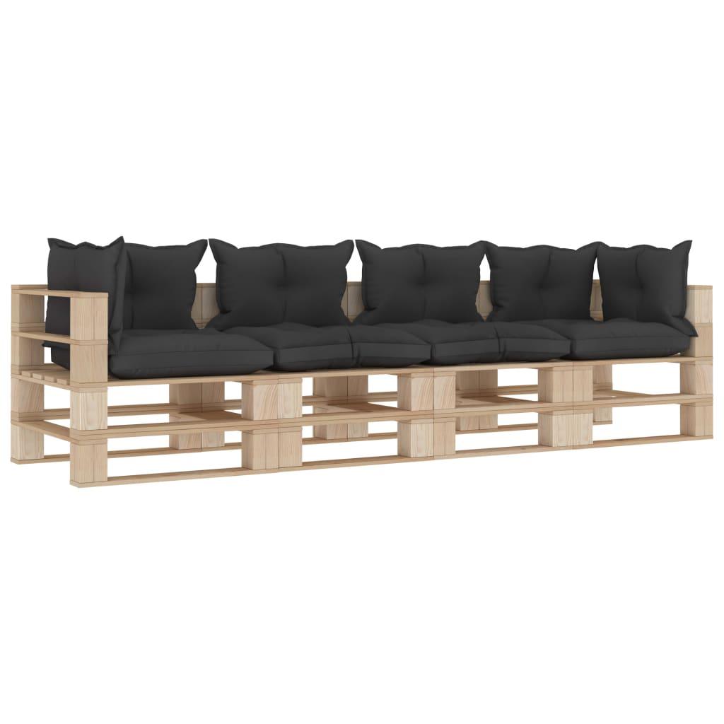 vidaXL Canapea de grădină din paleți, 4 locuri, perne negre, lemn imagine vidaxl.ro