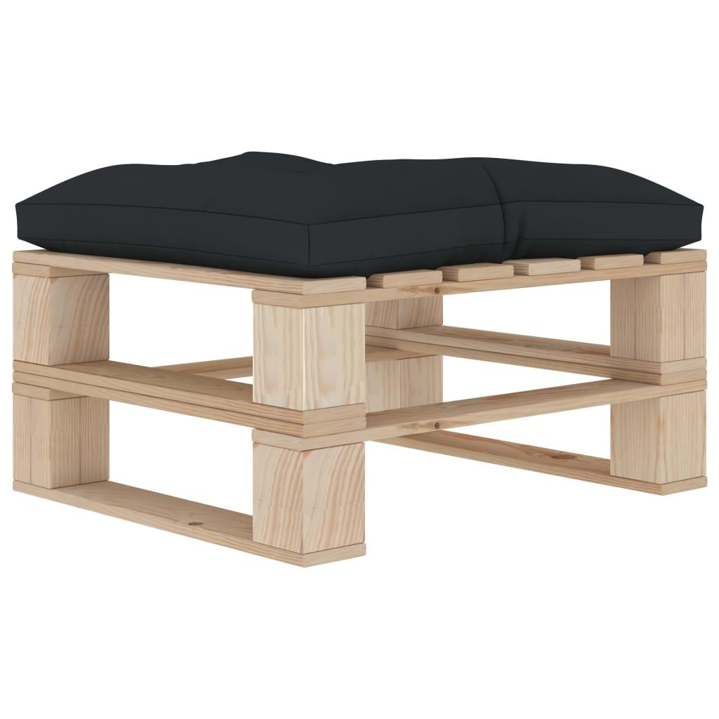 vidaXL Zahradní taburet z palet s antracitovou poduškou dřevo
