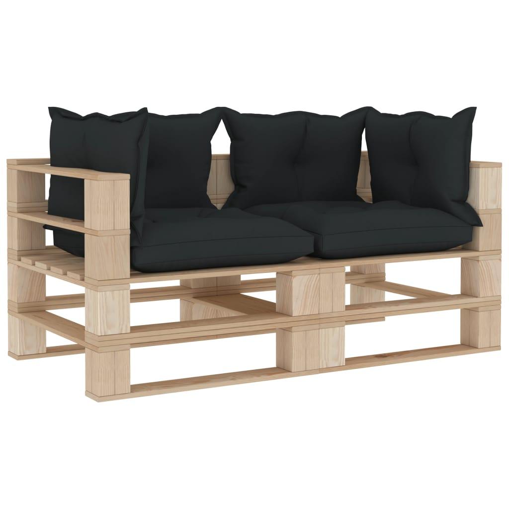 vidaXL Canapea de grădină din paleți, 2 locuri, perne antracit, lemn imagine vidaxl.ro