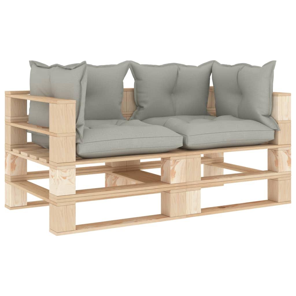 vidaXL Canapea de grădină din paleți, 2 locuri, perne gri taupe, lemn vidaxl.ro