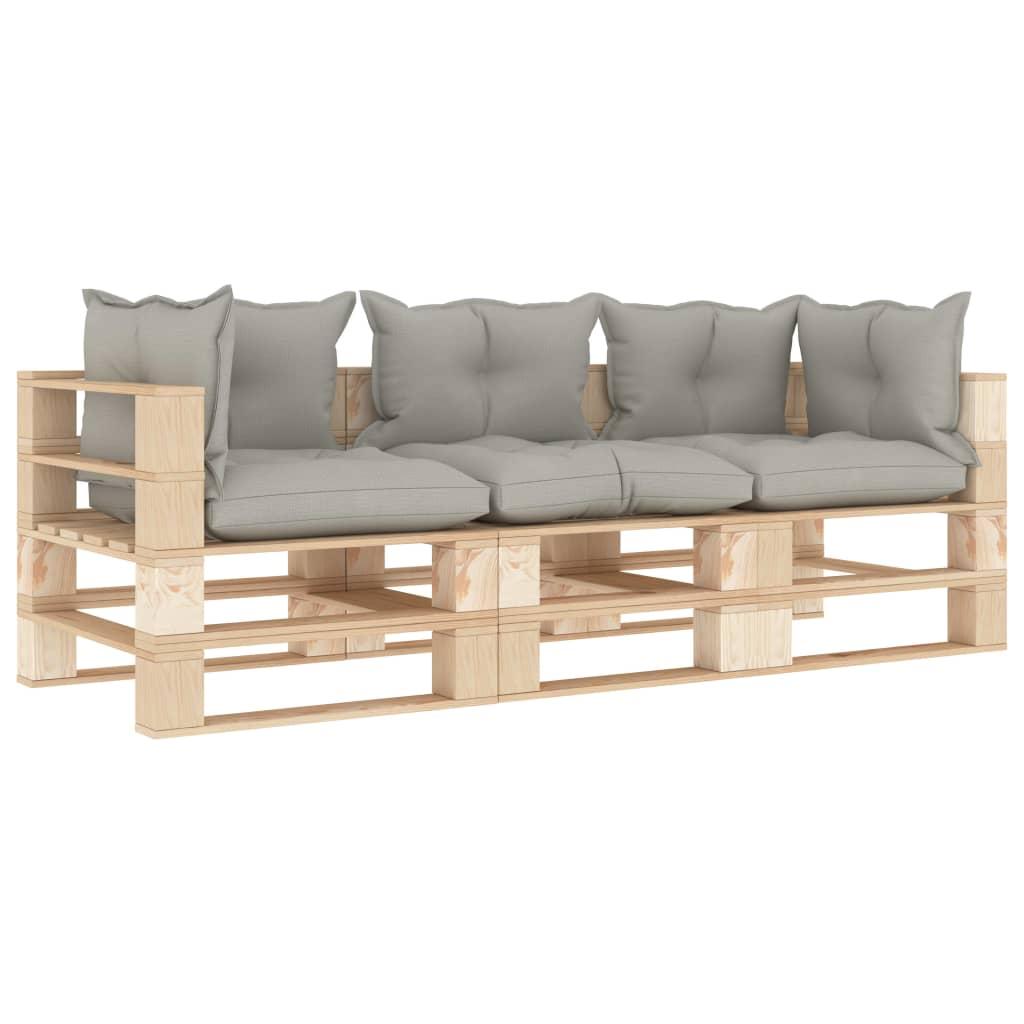 vidaXL Canapea de grădină din paleți, 3 locuri, perne gri taupe, lemn poza 2021 vidaXL