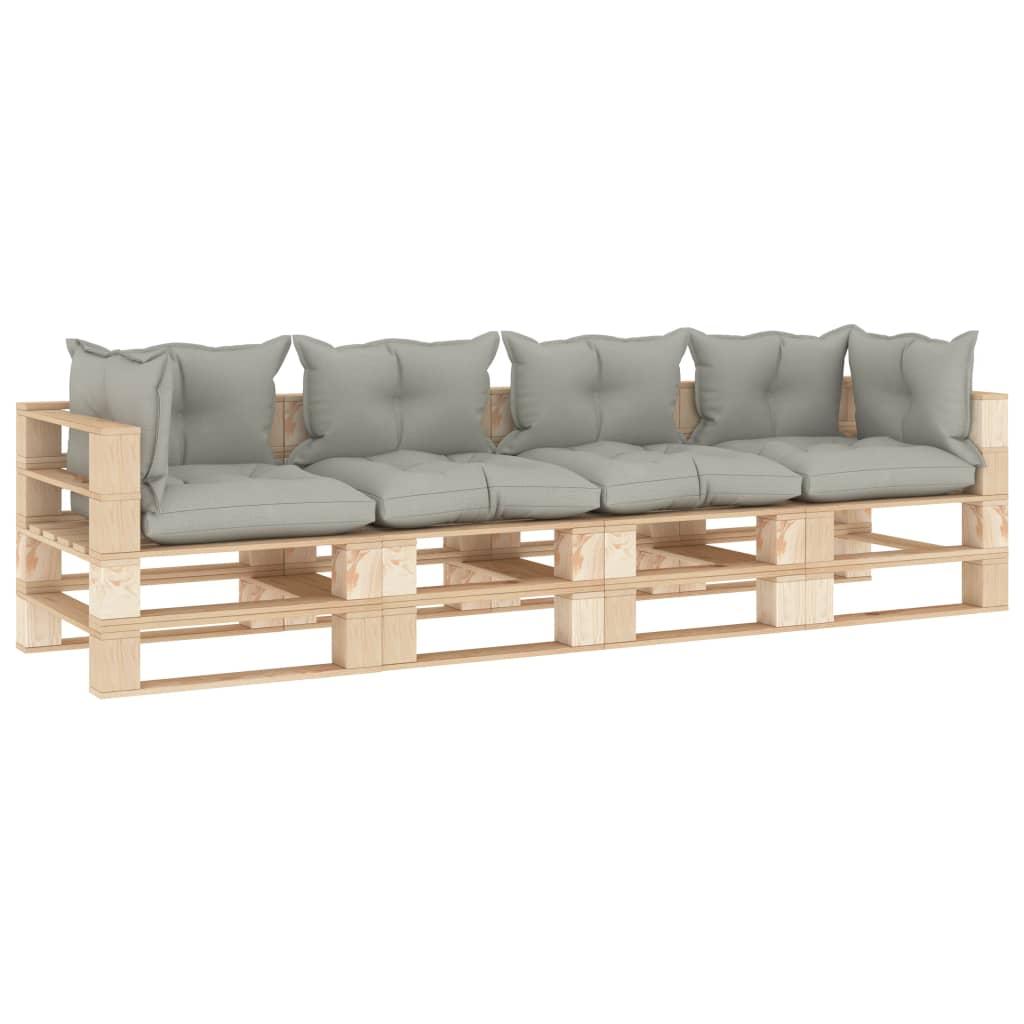vidaXL Canapea de grădină din paleți, 4 locuri, perne gri taupe, lemn imagine vidaxl.ro