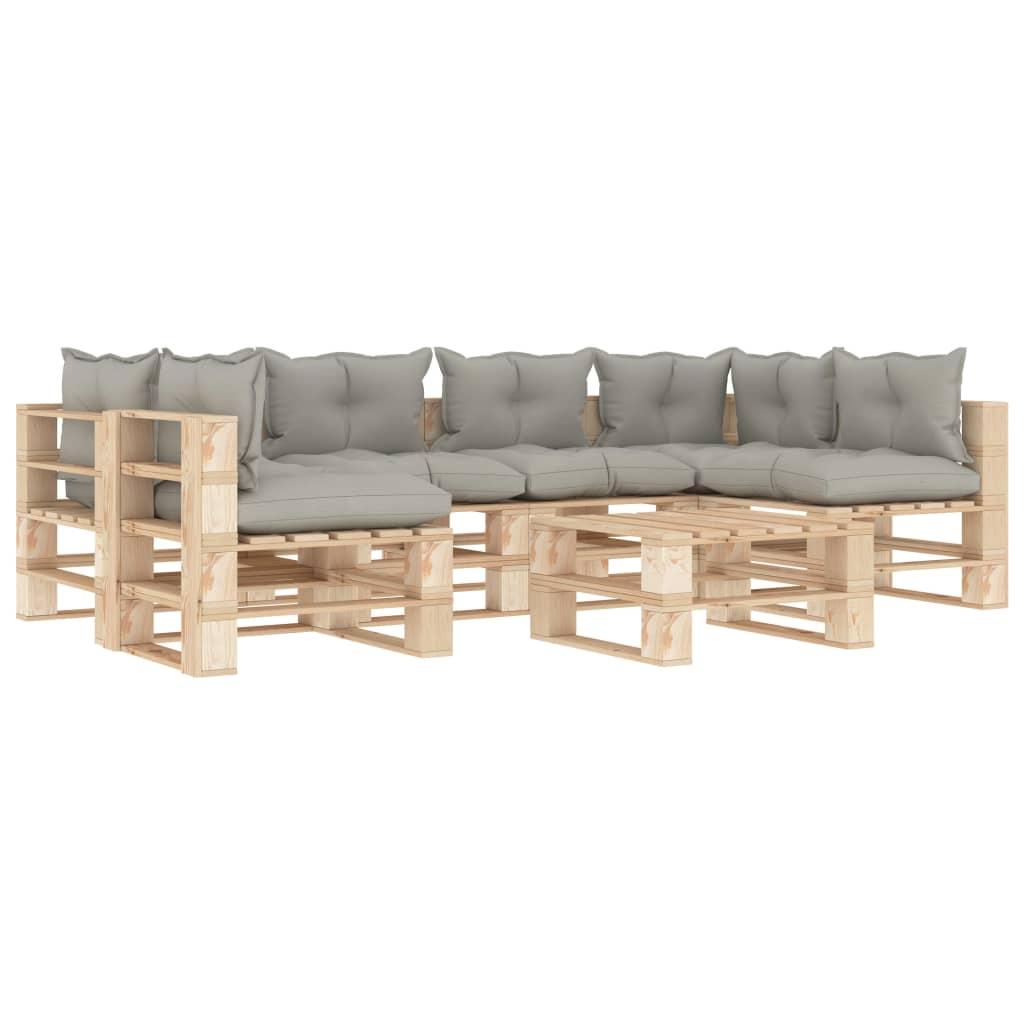 vidaXL Set mobilier grădină din paleți, perne gri taupe, 7 piese, lemn imagine vidaxl.ro