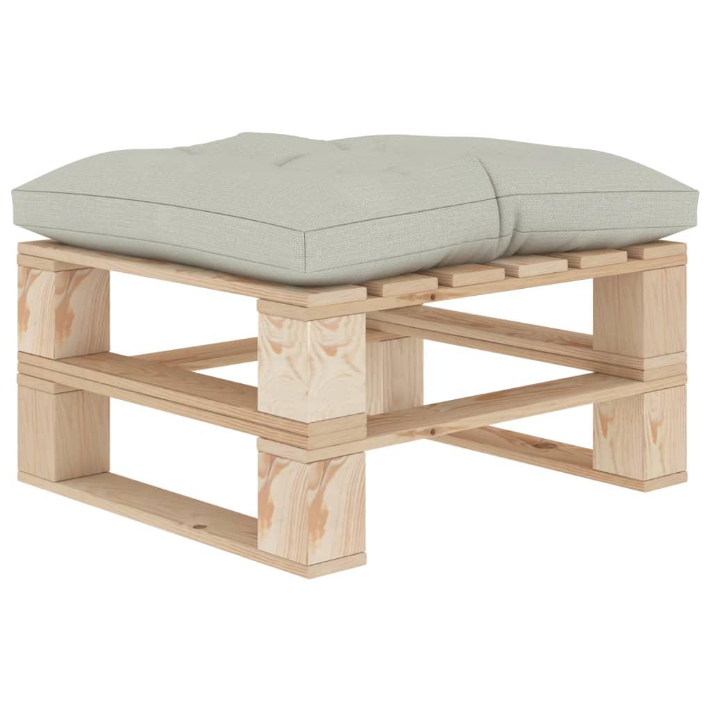 vidaXL Zahradní taburet z palet s béžovou poduškou dřevo