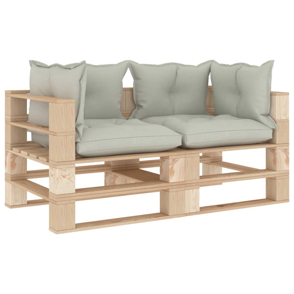 vidaXL Canapea de grădină din paleți cu 2 locuri, perne bej, lemn imagine vidaxl.ro