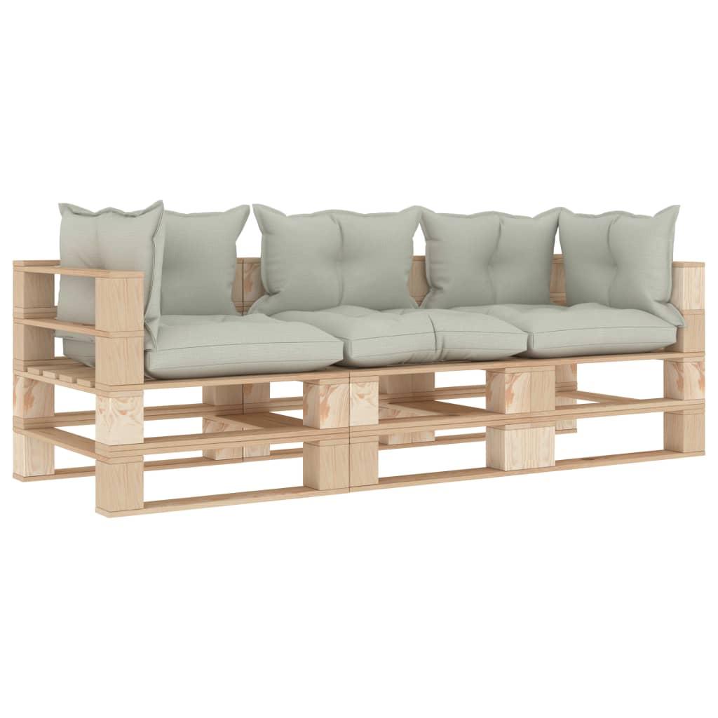 vidaXL Canapea de grădină din paleți, 3 locuri, perne bej, lemn poza 2021 vidaXL