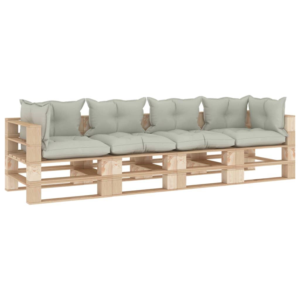 vidaXL Canapea de grădină din paleți, 4 locuri, perne bej, lemn imagine vidaxl.ro