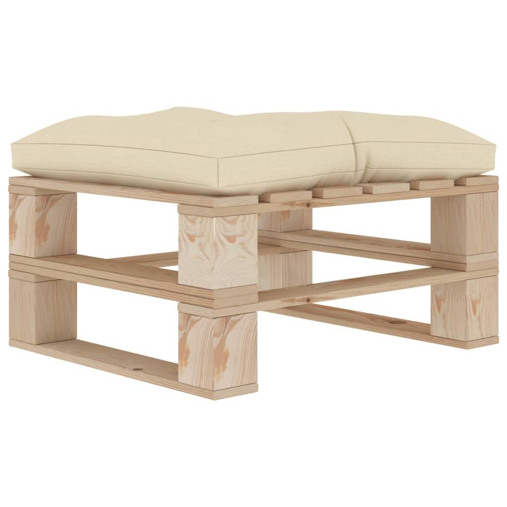 vidaXL Zahradní taburet z palet s krémovou poduškou dřevo
