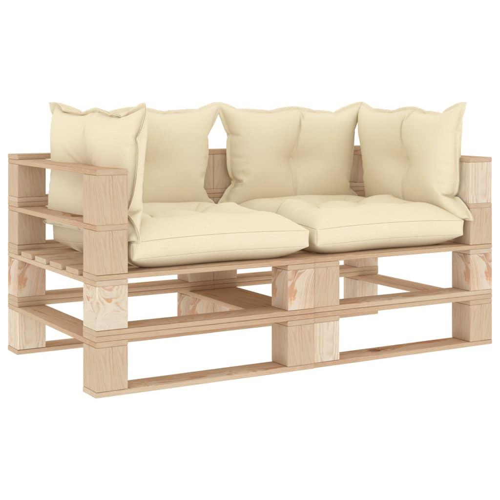 vidaXL Canapea de grădină din paleți cu 2 locuri, perne crem, lemn imagine vidaxl.ro