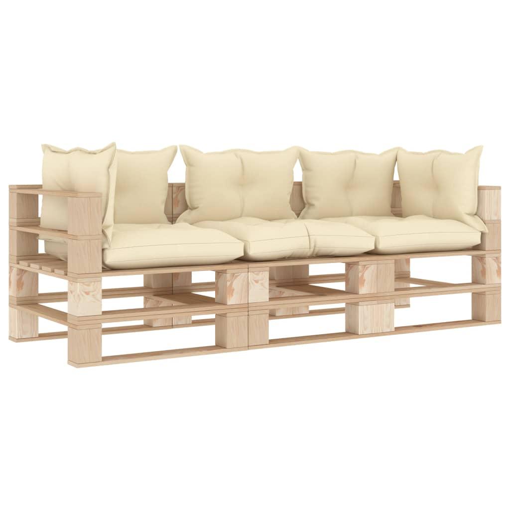 vidaXL Canapea de grădină din paleți cu 3 locuri, perne crem, lemn poza vidaxl.ro
