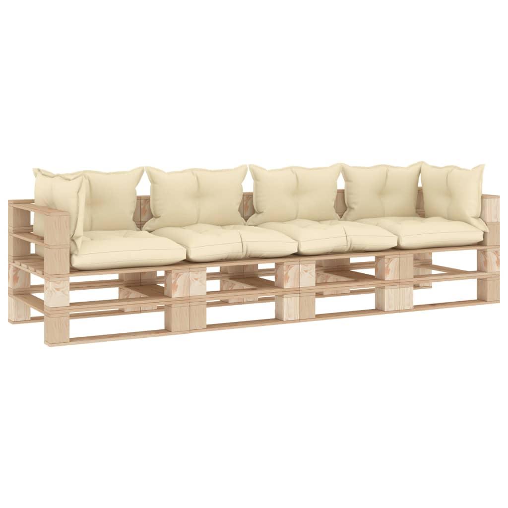 vidaXL Canapea de grădină din paleți, 4 locuri, perne crem, lemn poza vidaxl.ro