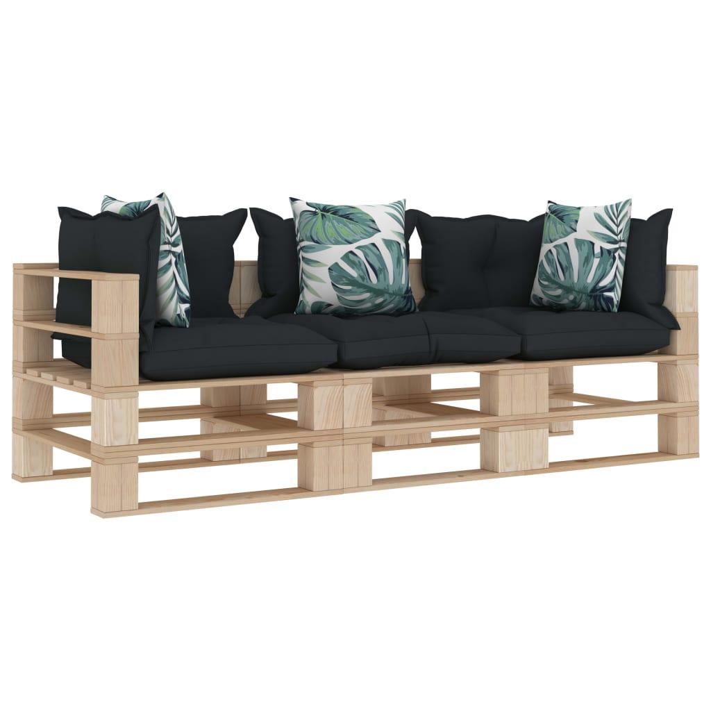 vidaXL Canapea grădină din paleți 3 locuri, perne antracit/flori, lemn poza 2021 vidaXL