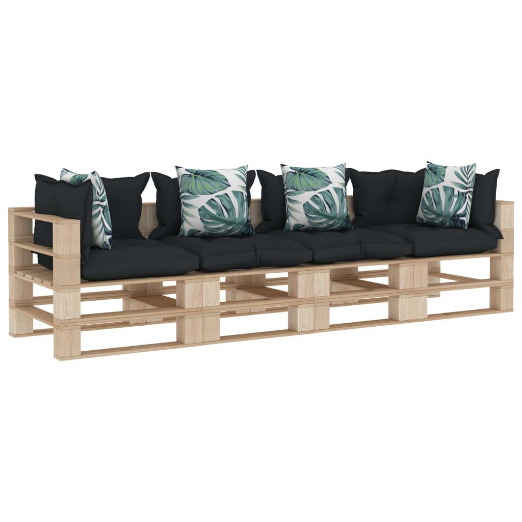 vidaXL Canapea de grădină paleți, 4 locuri, perne antracit/flori, lemn poza 2021 vidaXL