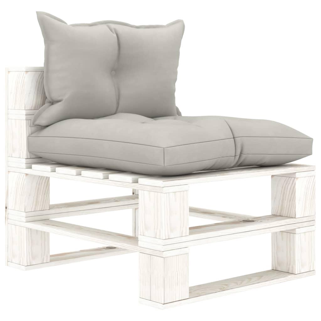 vidaXL Canapea de grădină din paleți, de mijloc, perne gri taupe, lemn poza vidaxl.ro