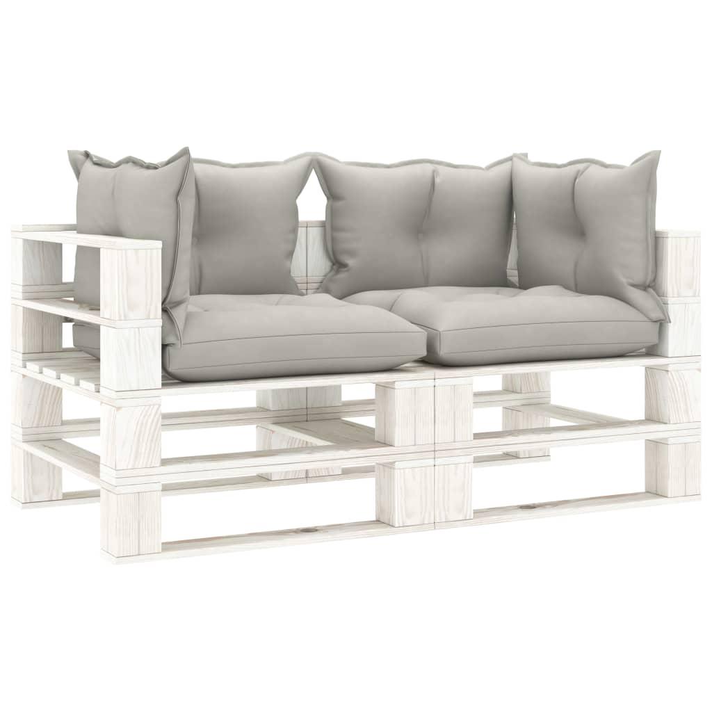 vidaXL Canapea de grădină din paleți, 2 locuri, perne gri taupe, lemn imagine vidaxl.ro