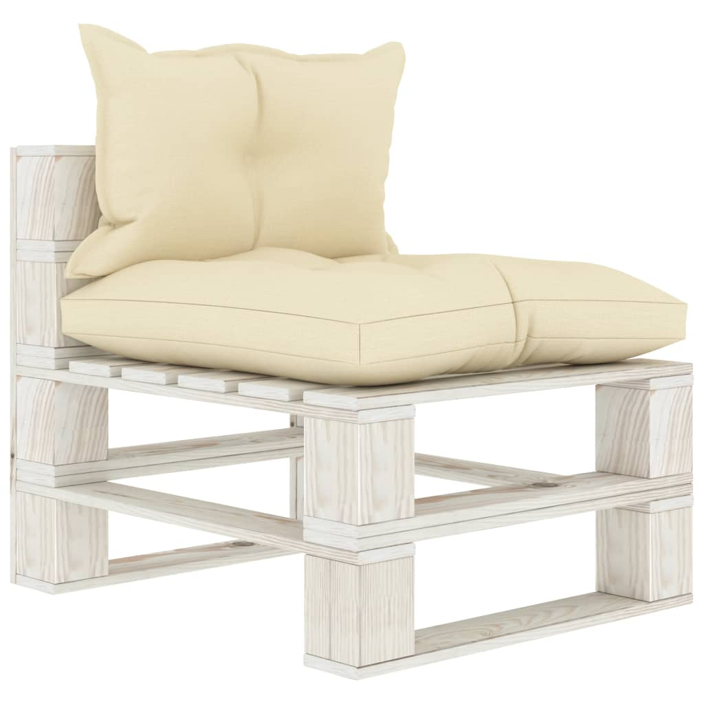 vidaXL Canapea de grădină din paleți de mijloc, perne crem, lemn poza 2021 vidaXL