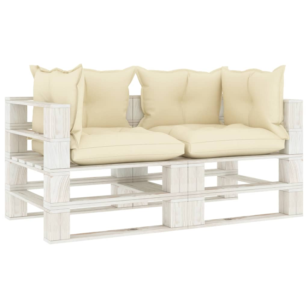 vidaXL Canapea de grădină din paleți, 2 locuri, perne crem, lemn vidaxl.ro