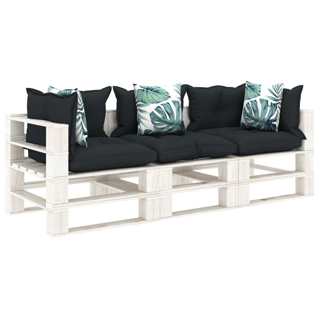 vidaXL Canapea de grădină paleți, 3 locuri, perne antracit/flori, lemn imagine vidaxl.ro