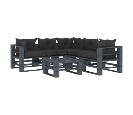 vidaXL 6 részes fa kerti raklap-ülőgarnitúra fekete párnákkal