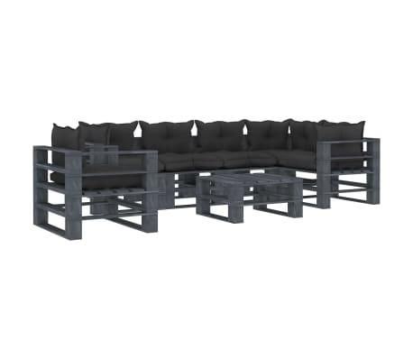 vidaXL 7 részes fa kerti raklap-ülőgarnitúra fekete párnákkal