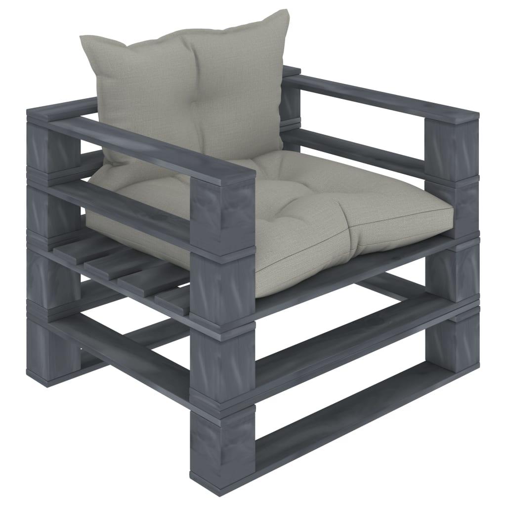 vidaXL Canapea de grădină din paleți, perne gri taupe, lemn poza vidaxl.ro