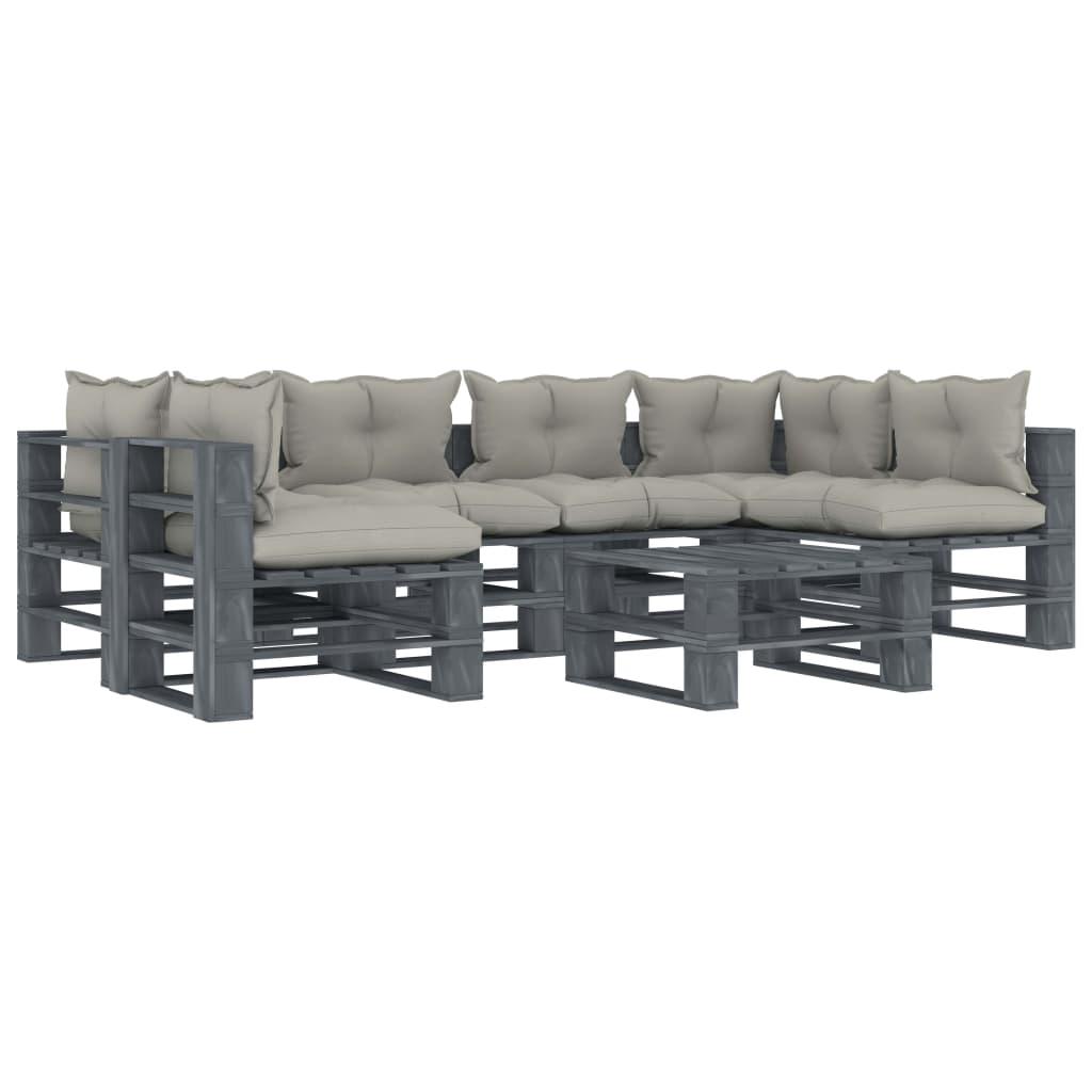 vidaXL Set mobilier grădină din paleți, perne gri taupe, 7 piese, lemn vidaxl.ro