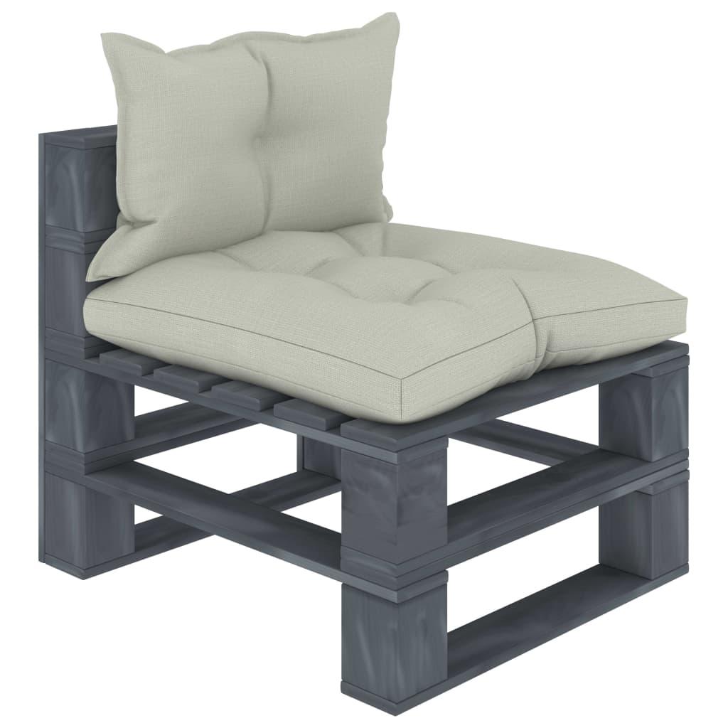 vidaXL Canapea de grădină de mijloc din paleți cu perne bej, lemn poza 2021 vidaXL