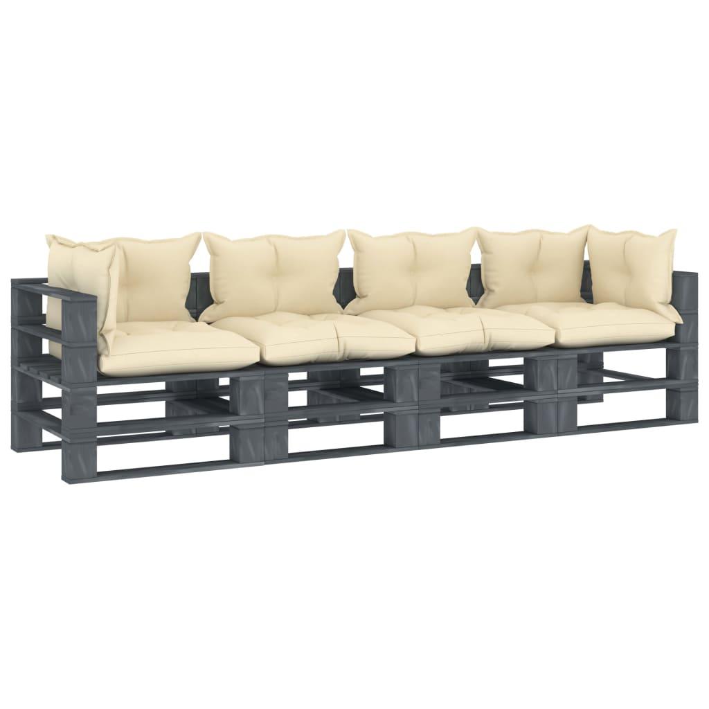 vidaXL Canapea de grădină din paleți cu 4 locuri, perne crem, lemn vidaxl.ro
