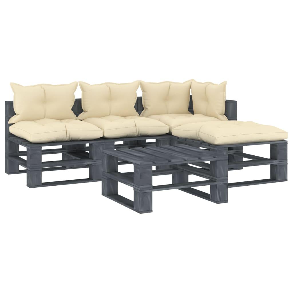 vidaXL 5-częściowy zestaw mebli ogrodowych z palet, kremowe poduszki