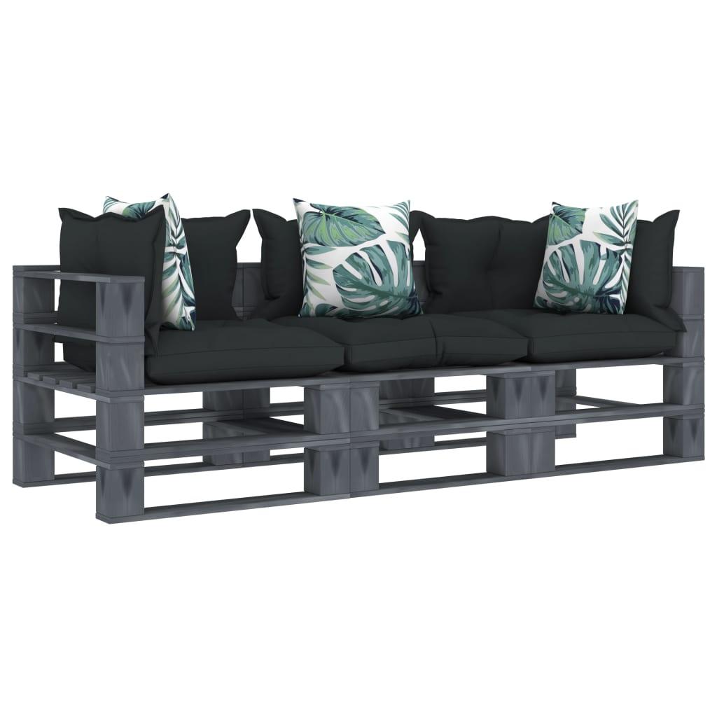 vidaXL Canapea de grădină paleți, 3 locuri, perne antracit/flori, lemn vidaxl.ro