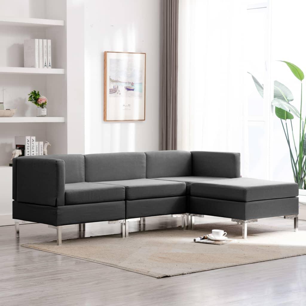 vidaXL Set de canapele, 4 piese, gri închis, material textil imagine vidaxl.ro