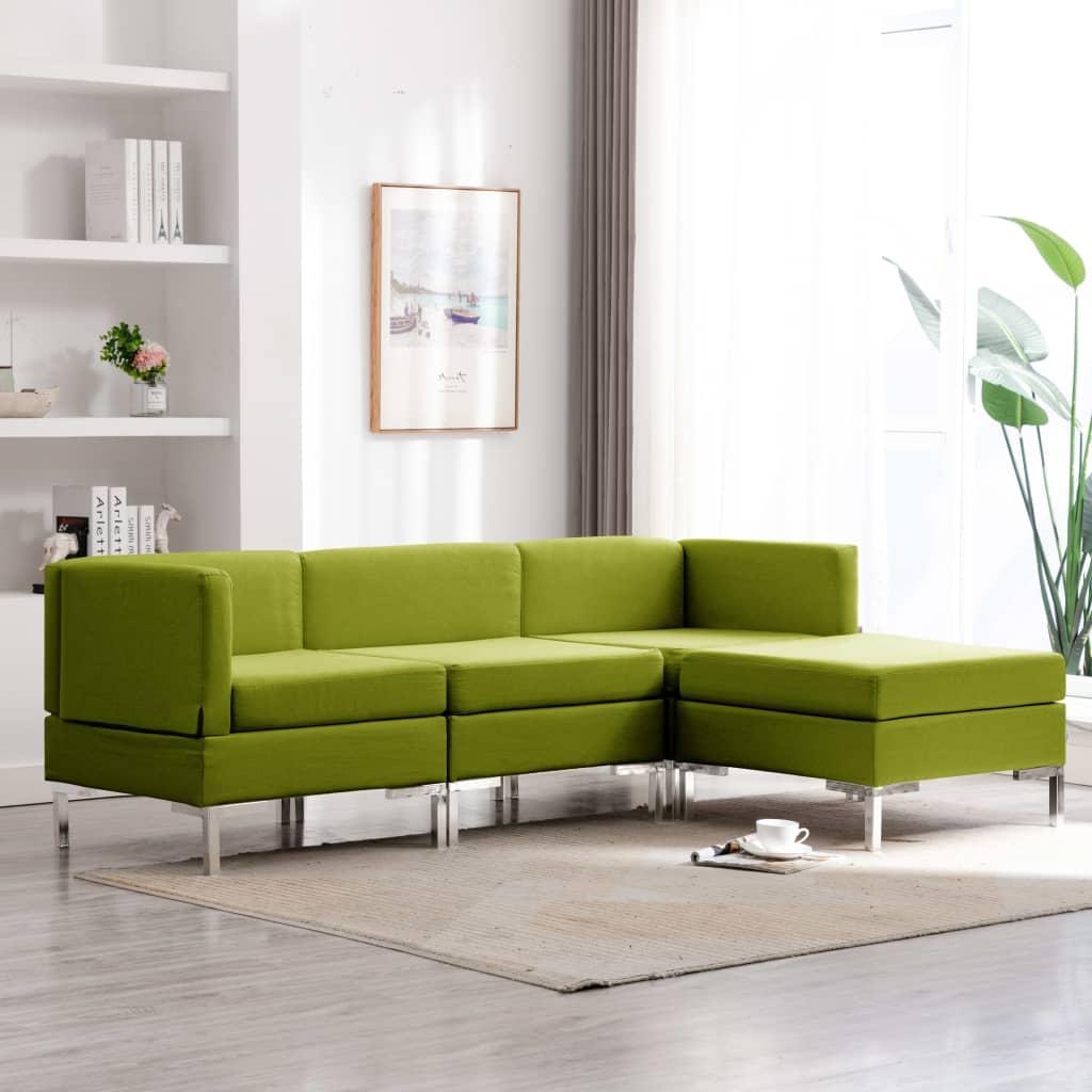 vidaXL Set de canapele, 4 piese, verde, material textil poza vidaxl.ro