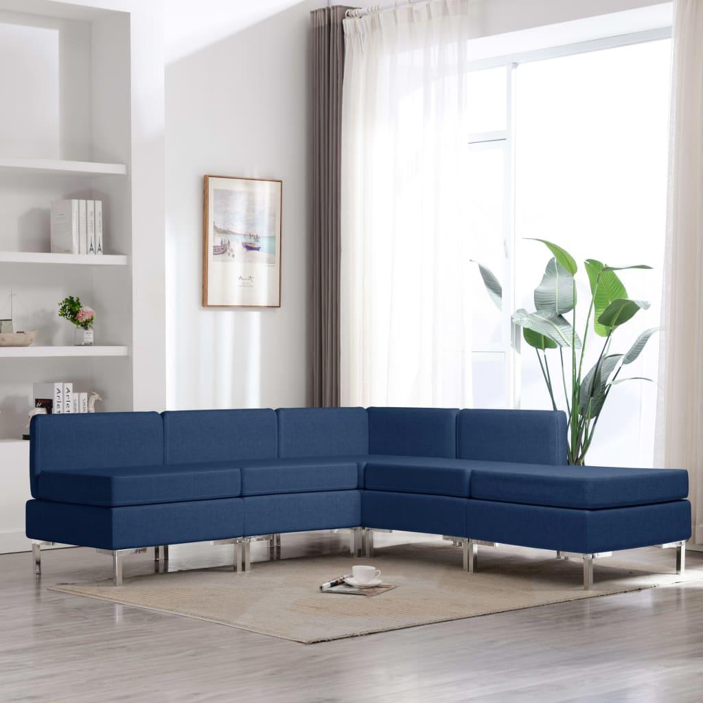 vidaXL Set de canapele, 5 piese, albastru, material textil poza 2021 vidaXL