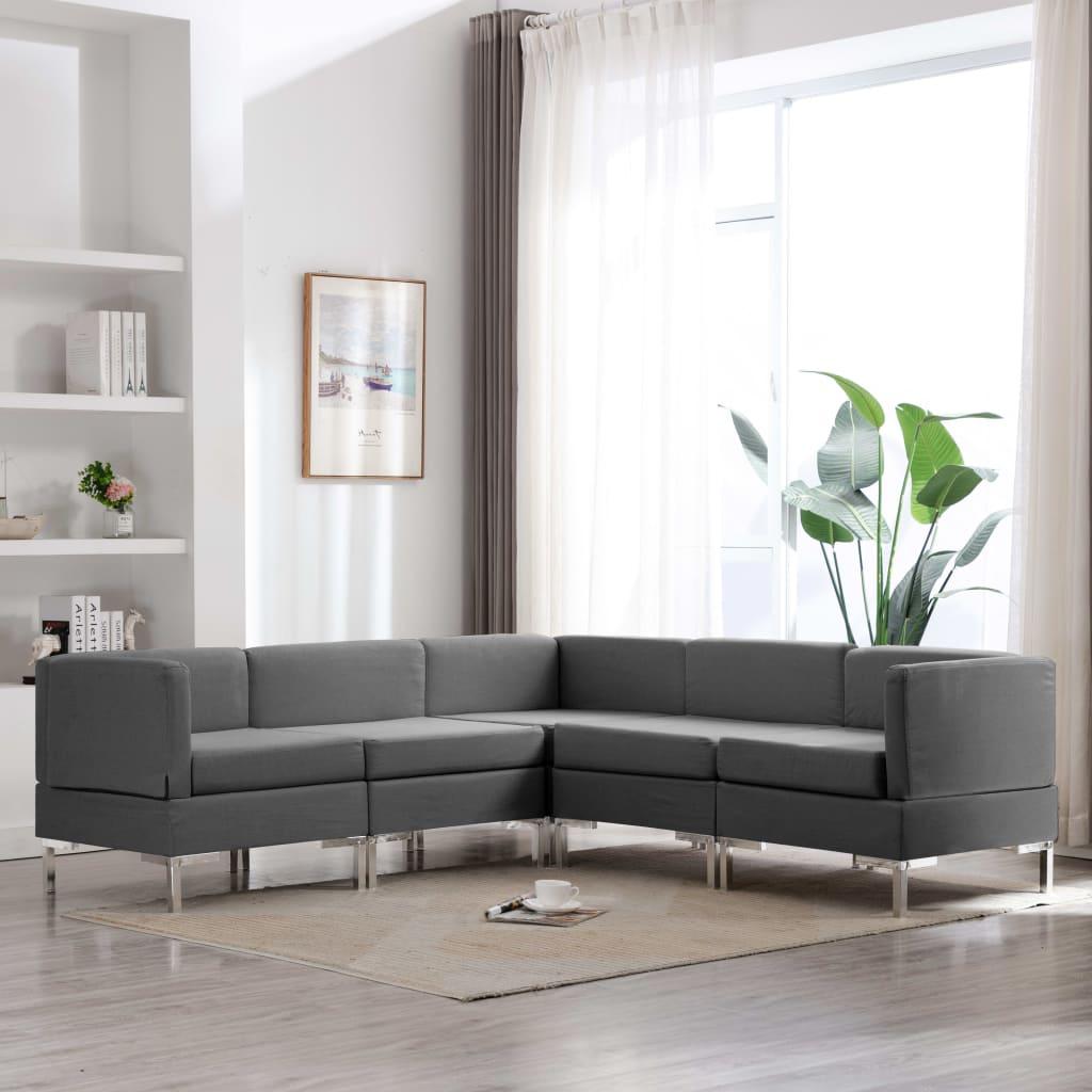 vidaXL Set de canapele, 5 piese, gri închis, material textil imagine vidaxl.ro
