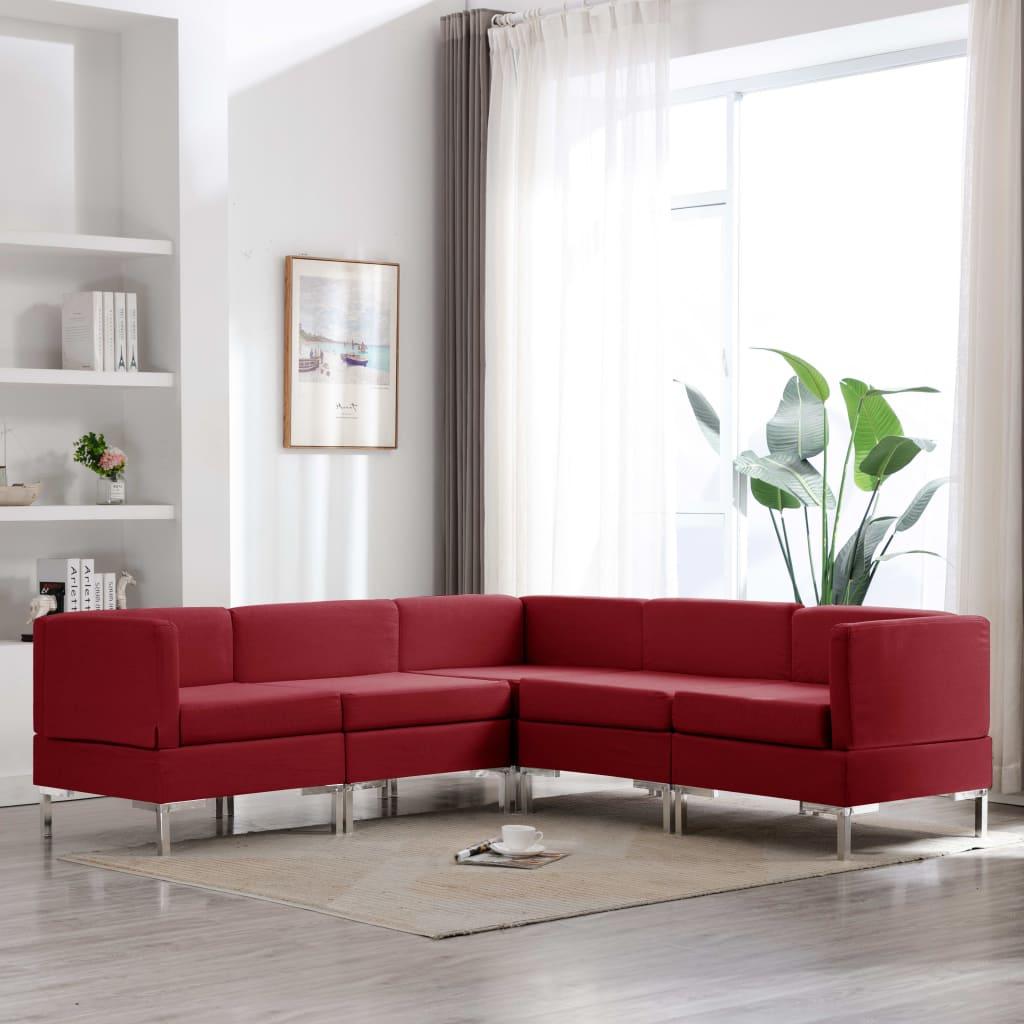 vidaXL Set de canapele, 5 piese, roșu vin, material textil imagine vidaxl.ro