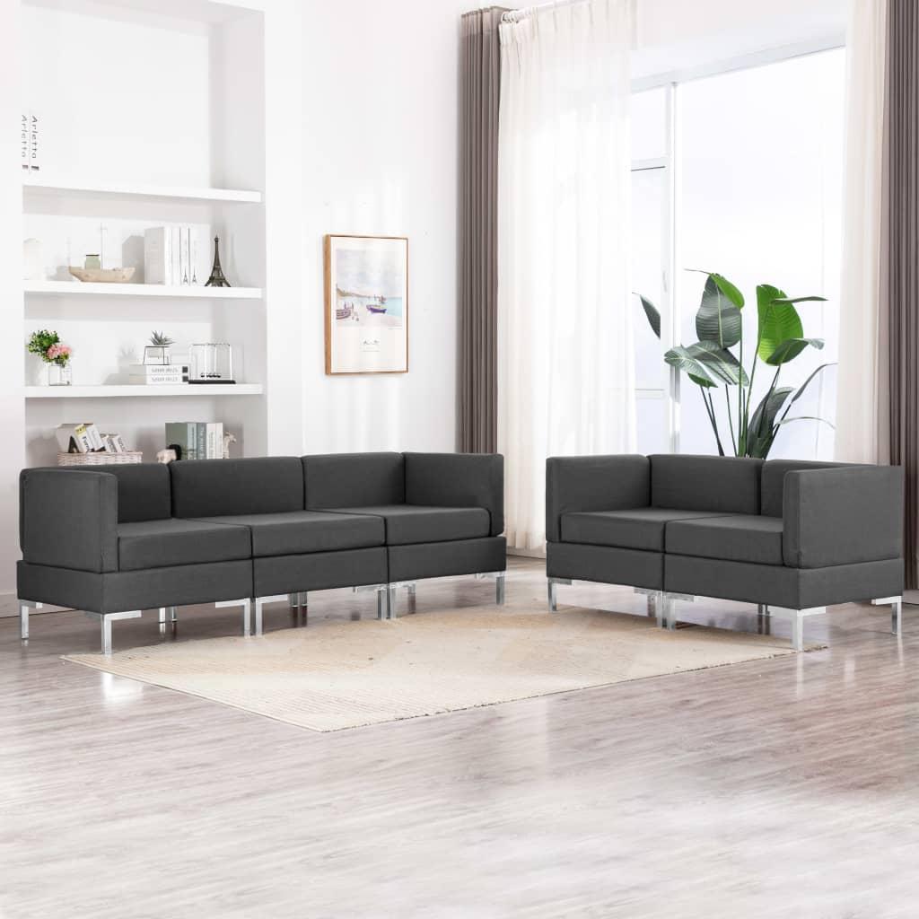 vidaXL Set de canapele, 5 piese, gri închis, material textil poza 2021 vidaXL