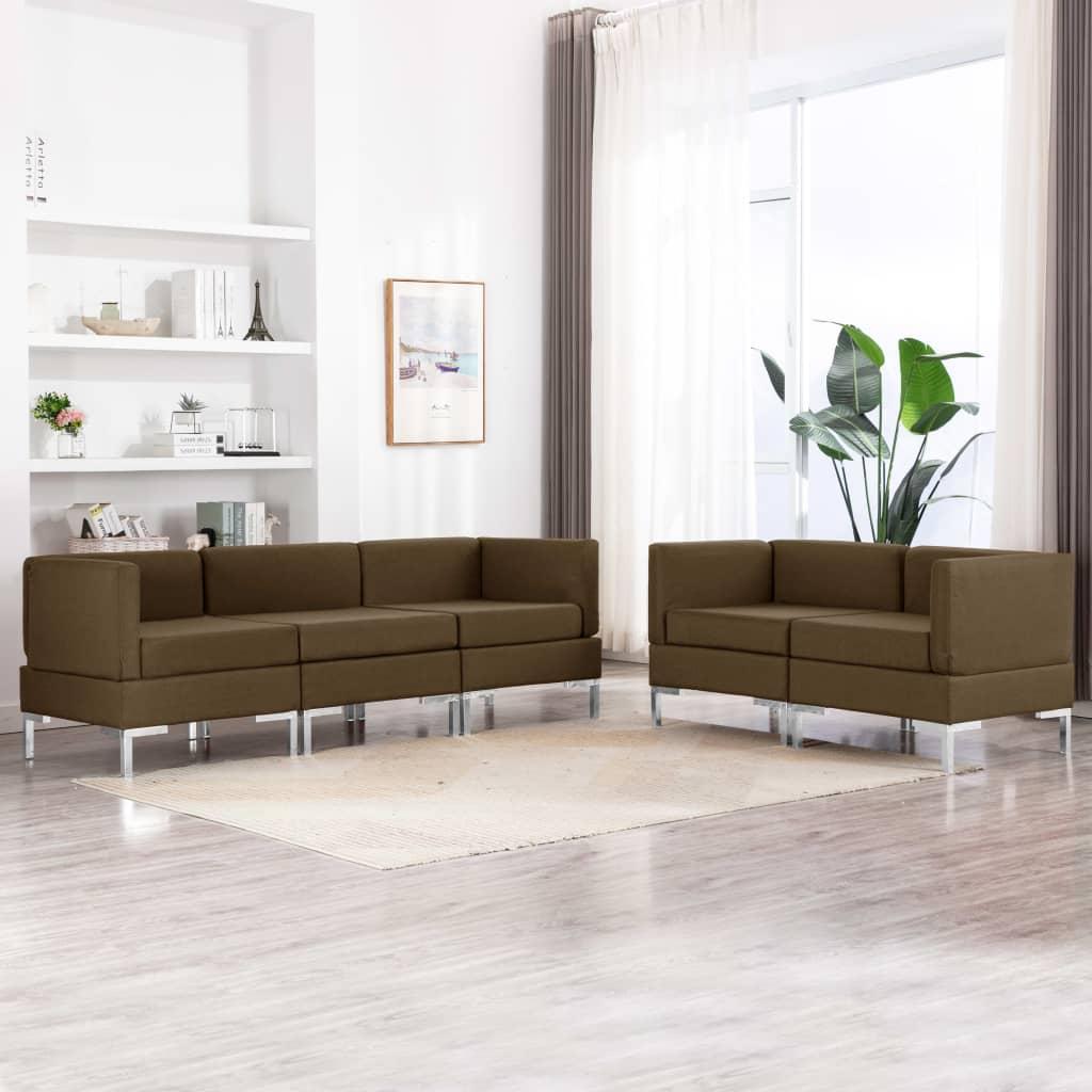 vidaXL Set de canapele, 5 piese, maro, material textil poza 2021 vidaXL