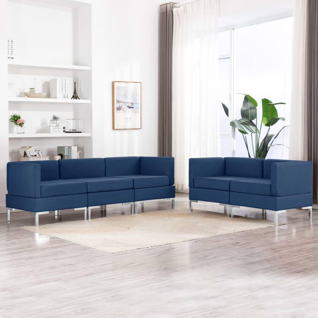 vidaXL Set de canapea, 5 piese, albastru, material textil imagine vidaxl.ro