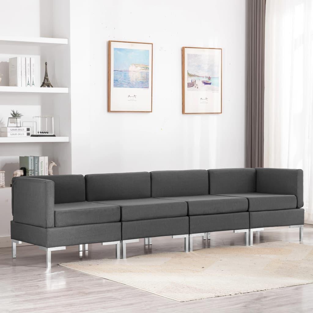 vidaXL Set de canapele, 4 piese, gri închis, material textil poza vidaxl.ro