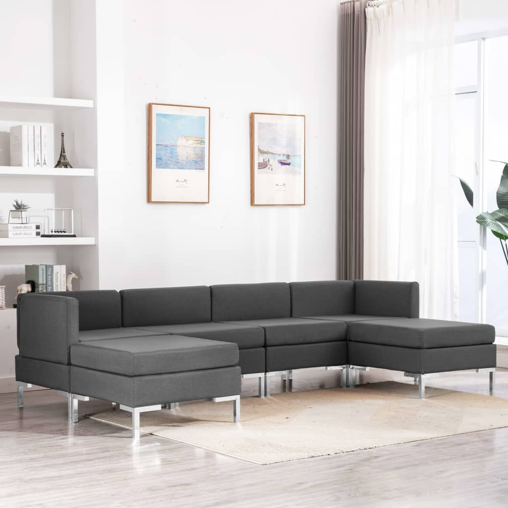 vidaXL Set de canapele, 6 piese, gri închis, material textil imagine vidaxl.ro