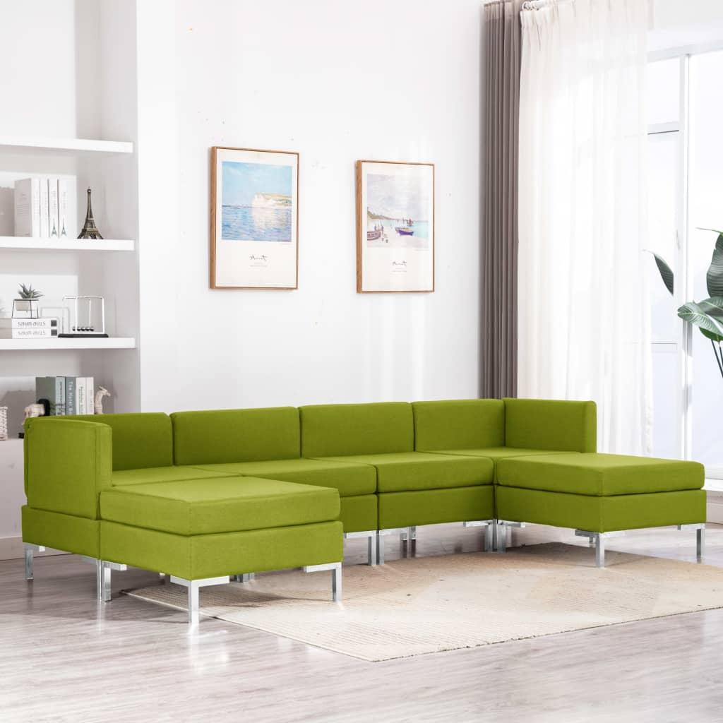 vidaXL Set de canapele, 6 piese, verde, material textil poza 2021 vidaXL